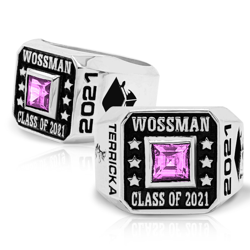 Men's Square Emerald Class Ring