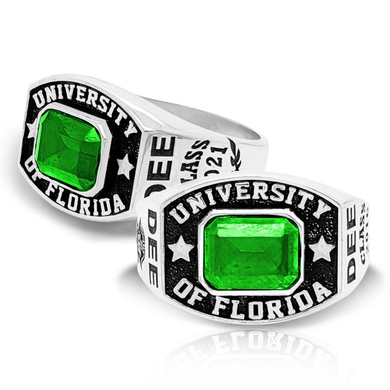 Men's Round Square Emerald Class Ring