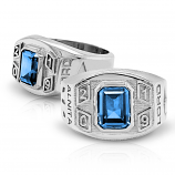 Women's Round Square Emerald with Year Class Ring