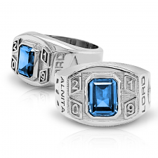 Men's Rounded Square Emerald with Year Class Ring